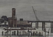 X-49-19 Werkzaamheden Verlengde Willemsbrug, uit het noorden. Op de voorgrond de samenloop van Wijnhaven en ...