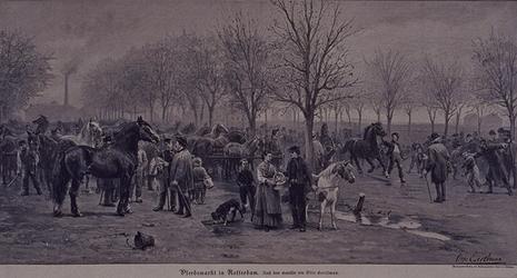XIV-108-I Gezicht op de Veemarkt tijdens een paardenmarkt.