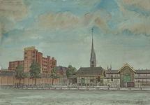 XIV-110-03 De veemarkt, uit het zuiden. Links achter C. Jamin, midden achter de kerk aan de Goudse Rijweg.