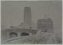 XIV-444-15-01 N.V. Singer aan de Hoogstraat in aanbouw, gezien uit het westen. Op de voorgrond de Weezenbrug, ...
