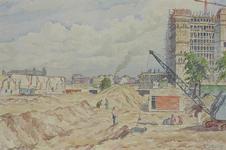 XVII-19-110 Het weggraven van de fundamenten van het oude station, gezien uit het westen, vanaf het eerste perron van ...