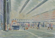 XVII-19-126 Interieur van de hal van het Centraal Station, gezien uit het oosten. Op de voorgrond de nog ongebruikte ...