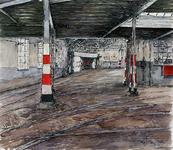 XVII-85-00-11 Het interieur van de remise Delfshaven, geen trams zijn erin. Gezien van de ingang aan de zijde van het ...