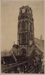 XVIII-105-03 Gezicht op de toren van de Sint-Laurenskerk uit het zuidwesten.