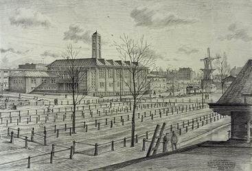 XVIII-206-06 Gezicht op de gereformeerde Nieuwe Oosterkerk aan de Boezemssingel vanaf de veemarkthallen