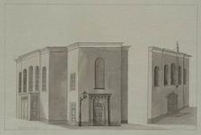 XVIII-231-01 Front en zijgevels van de Doopsgezinde kerk aan de Sint-Laurensstraat.