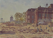 XXI-89-00-02 Gedeelte van de gemeentebibliotheek in het verwoeste en bouwrijp gemaakt wordende gebied, gezien vanaf de ...
