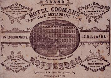 XXIV-34-01-02 Reclamebiljet van het hotel Coomans (aan de Hoofdsteeg) met in het midden een afbeelding Medaillon.