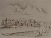 XXV-787-00-00-01 Gezicht op de Rotterdamse Schie, de achterzijde van huizen aan de Zestienhovensekade bij de Neel ...