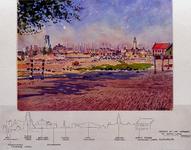 XXXIII-622-1 Juni 1942Wederopbouw in juni. De Boezemingel over het bouwterrein tussen de Goudsesingel en de Goudse ...