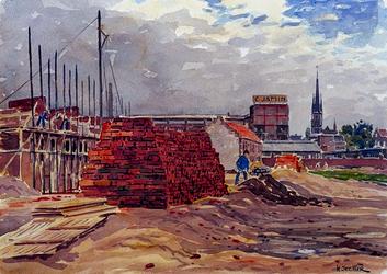 XXXIII-622-2 Juni 1942Wederopbouw in juni. In aanbouw zijnde woningen tussen de Goudsesingel en de Goudse Rijweg, uit ...