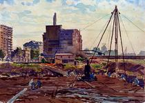 XXXIII-623 Juli 1942Wederopbouw in juli. Werkzaamheden op de terreinen langs de Binnenweg, gezien uit het noordwesten.