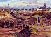 XXXIII-628 Oktober 1942Wederopbouw. Het bouwrijp maken van het terrein om het Steiger tussen de Vlasmarkt en de Kolk. ...