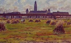XXXIII-683-02 Juli 1945Productieslag.Het oogsten in de binnenstad op het terrein ten oosten van het viaduct, uit het oosten.