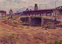 XXXIII-698 1945Wederopbouw van de binnenstad.Grondwerken in de omgeving van de voormalige Langebrug, uit het noorden. ...