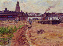 XXXIII-699 1945Wederopbouw van de binnenstad.Grondwerken in de omgeving van de voormalige Langebrug, uit het oosten. Op ...