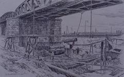 XXXIII-700 1945Wederopbouw van de stad.Werkzaamheden onder het viaduct bij het Hofplein, gezien uit het zuiden. Op de ...