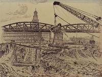 XXXIII-701 1945Wederopbouw van de stad.Werkzaamheden onder het viaduct bij het Hofplein. Op de achtergrond het ...