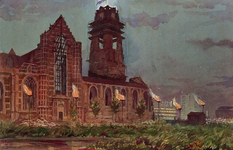 XXXIII-739-14-5 31 augustus - 6 september 1948Kroningsfeesten.Verlichting van de Sint Laurenskerk.
