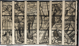 3120 Karton voor een glas-in-lood raam voor een onbekende locatie. Het verbeeldt de steniging van Stefanus.