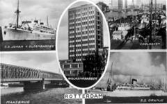 -1154 Album met foto's en prentbriefkaarten met afbeeldingen van stadsgezichten in Rotterdam.