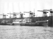 1976-13301 Vrachtschip Kota Inten van de Rotterdamse lloyd ligt langs de kade bij de Holland-Amerika Lijn, aan de ...