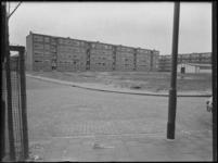 1976-7503 Schiebroek Zuid. De Moltzerstraat in Schiebroek, met de achterzijde van de flats aan de Teldersweg en de ...