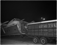 1591-1 Vrachtvliegtuig op Zestienhoven met veetransportwagen.