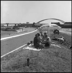 25636-1-5 Recreatie bij een bassin van de Drinkwaterleiding Rotterdam (DWL). Op de achtergrond de Schaardijk met ...