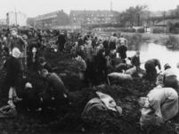 1977-3301 Het zoeken naar kolen op een terrein in de buurt van de gasfabriek Kralingen. Op de achtergrond woningen aan ...
