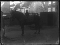 2007-2565-14 Een paard en zijn begeleider op de wagenplaats van de firma Tromp en Rueb, Azijnmakerij 'De Dubbele ...