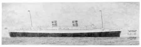 RDM-11192 Fotografische reproductie van een tekening van het passagiersschip SS Nieuw Amsterdam (2) (RDM-200) voorzien ...