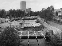 1977-1181 De bouwwekrzaamheden aan de Goudsesingel.Op de achtergrond o.a. het Hofplein.