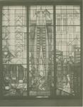 1980-2926 Glas-in-lood-raam met het onderschrift: 1884 van het personeel en oud personeel 1934, aangeboden door het ...