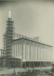 1986-145 Toren van het hoofdgebouw in steigers, elektriciteitscentrale aan de Galileistraat.