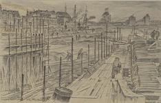 VII-468-37-01 Gezicht op de Scheepmakershaven en op het leggen van nieuwe fundamenten van de Rederijbrug, uit het ...