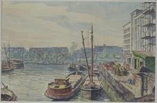 VII-543-26-50 Wijnhaven, uit het oosten. Op de achtergrond de Leuvehaven en de Schiedamsedijk.