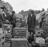 4-02 Markt met levende dieren langs de Maashaven. Kinderen kijken in een kist met konijnen.