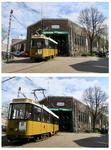 141 Een historische tram rijdt het trammuseum aan de remise Hillegersberg aan de Kootsekade uit.