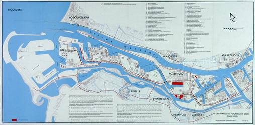 1969-563 Kaart van het havengebied van Pernis tot aan de Noordzee met informatie over het gebruik van haventerreinen