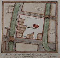 1969-68 Plattegrond van het Bagijnenhof tussen Bagijnenstraat, Delftsevaart, Wijde Broedersteeg en de Slijkvaart