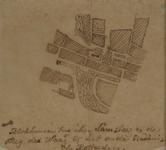 1970-1438 Plattegrond van de omgeving van de Lamsteeg met aanduiding van de plaats van de blokhuizen [gevangenissen?]