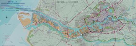 1970-2030 Kaart van Rotterdam en omgeving waarop de uitvoering van de wegennet en de waterkering per 1 januari 1971 is ...