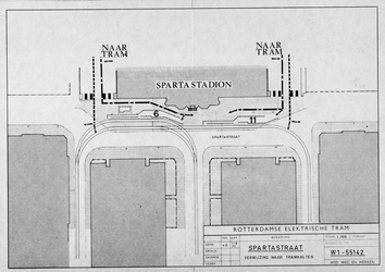 1971-1636 Plattegrond van tramhalten in de Spartastraat voor het Spartastadion