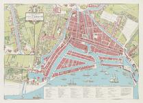 1972-319 Reconstructie van de plattegrond van Rotterdam omstreeks 1850. Inzet: linksboven: Rotterdamse Schie