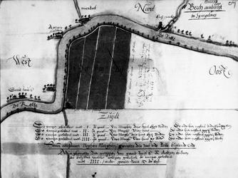 1972-672-40B Kaart van landerijen gelegen aan de Rotte ten zuiden van Meerkote [fotokopie]