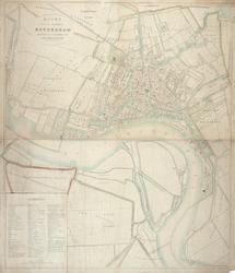 1973-4792 Plattegrond van Rotterdam na de uitbreiding van 1869 vervaardigd naar de kadastrale plans. Met weergave van ...