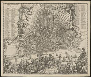 1973-5328 Plattegrond van Rotterdam. Stadsplattegrond met links, rechts en onder weelderige versieringen met o.a. ...