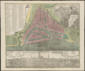 1973-5356 Plattegrond van Rotterdam met daaronder een prospect van de stad.