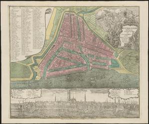 1973-5357 Plattegrond van Rotterdam met daaronder een prospect van de stad.